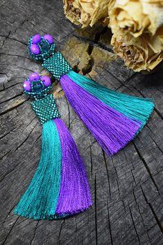 Emerald ombre long tassel earrings Purple statement fringe tassel earrings Colorful oscar de la renta silk tassel earrings Gift for women by WHIMSYofQUEEN on Etsy