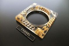 Authentic Vintage Chanel cuff bracelet bangle CC icon charm clear rare