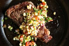 Rib-Eye Steak with Grilled Corn Salad  - Delish.com Joe made this tonight -- it's also good in a taco!