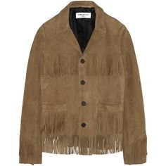 Saint Laurent Curtis fringed suede jacket (€3.660) ❤ liked on Polyvore featuring outerwear, jackets, coats & jackets, saint laurent, clothes - outerwear, brown, brown jacket, suede fringe jackets, yves saint laurent and suede leather jacket