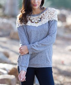 Loving this Gray & Ivory Crochet-Yoke Top  A crochet yoke brings whimsical femininity to this comfortably relaxed cotton-blend top.   Size S: 25'' long from high point of shoulder to hem Knit 60% cotton / 40% polyester vegan cruelty free  shirt blouse classy  perfect christmas present other colors available.