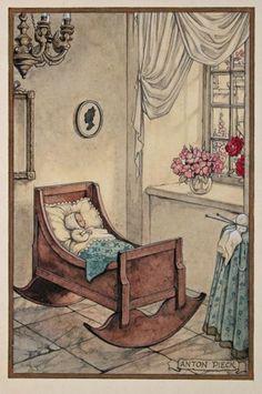 Anton Pieck - geboortekaartje Munier, Anton Pieck, Dutch Painters, Dutch Artists, Vintage Artwork, Cute Illustration, Beautiful Paintings, Vintage Children, Illustrators