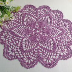 Peach Crochet Napkin Crochet Doily Handcrafted Home Decor. Free Crochet Doily Patterns, Crochet Lace Edging, Thread Crochet, Crochet Patterns Amigurumi, Crochet Crafts, Crochet Projects, Crochet Dollies, Crochet Tablecloth, Lace Doilies