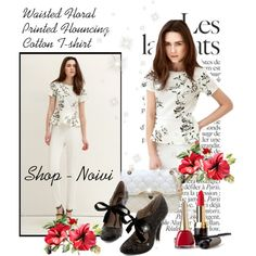Waisted Floral Printed Flouncing Cotton T-shirt