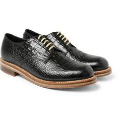 London Collections. MenMatthew Miller x Grenson Crocodile-Embossed Leather Derby Shoes