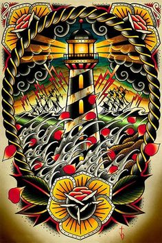 Last Port by Tyler Bredeweg Tattoo Art Print Traditional Artwork Lighthouse Wave #PopArt