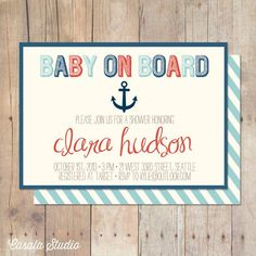 Baby On Board Nautical Baby Shower Invitation by casalastudio