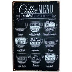 COFFEE MENU KNOW YOUR COFFEE 20*30CM Metal Tin Sign Coffee Pub Club Gallery Poster tips Vintage Plaque Wall Cafe Decor Plate-in Metal Crafts from Home & Garden on Aliexpress.com | Alibaba Group