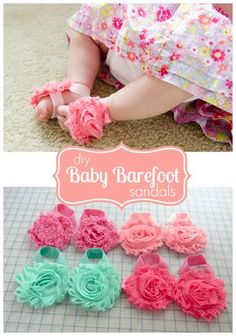 How to make Baby Barefoot sandals. These are adorable! Measurements for lots of sizes. #baby #craft #sandals