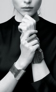 Perforated Jewellery - modern statement bangles & elongated ring // Jennifer Fisher