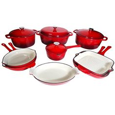 $459.99 | Le Chef 13 Piece Enameled Cast Iron Cherry Cookware Set. ON SALE. (CLICK IMAGE TWICE FOR UPDATED PRICING AND INFO) See More Enamel Cast Iron Cookware Sets at www.momsbestkitchen.com/product-category/cast-iron-cookware-sets/