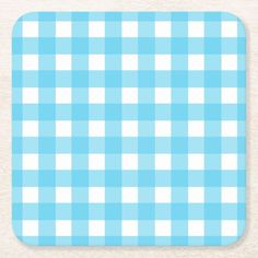 Shop Bright cerulean blue gingham square paper coaster created by FarmingBackwards. Personalize it with photos & text or purchase as is! Blue Gingham, Cerulean, White Elephant Gifts, Retro Vintage, Coasters, Art Pieces, Monogram, Blue And White, Bright