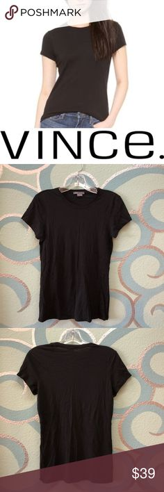"Vince. Black cotton little boy tee medium Light weight and super soft cotton tee. ✨ ""The Little Boy"" by Vince.  Fitted tee. ✨ Excellent pre owned condition. No pilling. Cotton shoes no signs of wear. ✨ Vince Tops Tees - Short Sleeve"