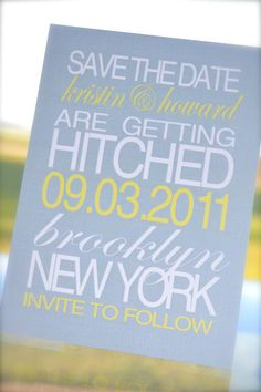 pretty yellow and gray save the date.