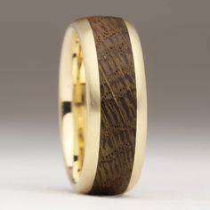 Rounded Gold Wood Ring, Wedding Ring, Unique Wedding Band, 100 year old lugger boat oak, Contemp Wood Inlay Rings, Wood Rings, Unique Wedding Bands, Wedding Rings, Wedding Stuff, Teak Oil, Titanium Rings, Gold Wood, One Ring