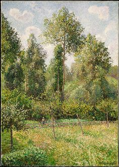 Camille Pissarro (French, 1830–1903). Poplars, Éragny, 1895. The Metropolitan Museum of Art, New York. Bequest of Miss Adelaide Milton de Groot (1876–1967), 1967 (67.187.93) | This canvas of summer 1895 shows a corner of Pissarro's garden at Éragny, a small village in northern France where he lived from 1884 until his death.