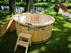 Houtgestookte glasvezel hot tub wellness basic (9)