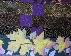 Mão folhas pintadas acolchoados de Mesa Pieced Batiks