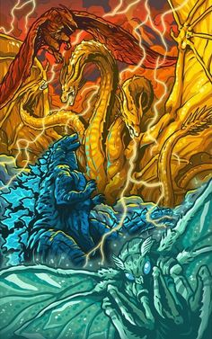 Godzilla and Mothra by on DeviantArt Godzilla Vs King Ghidorah, King Kong Vs Godzilla, Godzilla Godzilla, Greek Monsters, All Godzilla Monsters, Fantasy Creatures, Mythical Creatures, Arte Final Fantasy, Godzilla Franchise