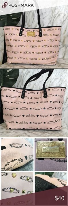 Cute Betsey Johnson Tote Good used condition, normal mark for used, colors; Cream , black & pink with heart print, no bad odor, No smoking Home 🏡 will ship immediately ❤️ Betsey Johnson Bags Totes