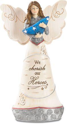 Elements Angel Figurine holding American Flag-  We cherish our Heros