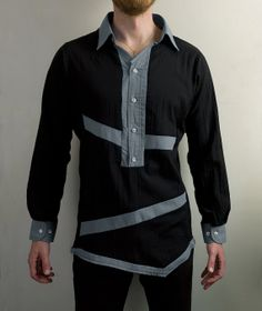 fce5f30f1f Futuristic Asymmetrical buttoned shirt in Black and Gray from PopLoveHis on  Etsy. Shai does custom