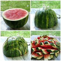 Use this four-step process to cut watermelon sticks.