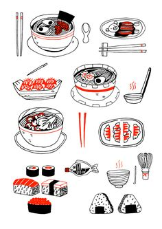 Aleesha Nandhra Print Club London Japanese Eats Screen Print