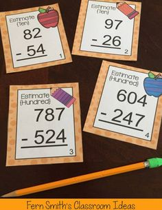 Grade Go Math Rounding to Estimate Differences Task Cards Math Rotations, Math Centers, Third Grade Math, Fourth Grade, Second Grade, Go Math, Math Groups, Math Task Cards, Math Notebooks