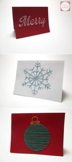 Embroidered Christmas Cards   Red Circle Crafts