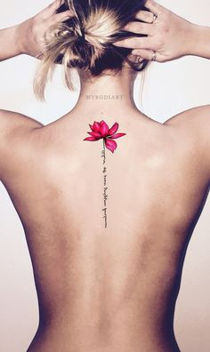 Cute Watercolor Pink Lily Lotus Script Quote Shoulder Tattoo Ideas for Women - B. - Cute Watercolor Pink Lily Lotus Script Quote Shoulder Tattoo Ideas for Women – Back Floral Flower - Trendy Tattoos, New Tattoos, Body Art Tattoos, Small Tattoos, Cool Tattoos, Quotes For Tattoos, Tattoo Quotes For Women, Phoenix Tattoos, Feather Tattoos