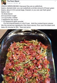 Crack Green Beans ((minus the garlic powder!!))                                                                                                                                                     More