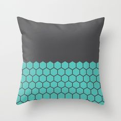 9 colours, Hexagon Honeycomb Half Pattern Decorative Pillow Cover, Geometric…