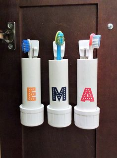 Tooth Brush holder hidden out of sight, no crossing of germs as they do now. Held on with tabs, so easy to remove and wash.