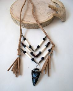 Braided Leather Breastplate Necklace