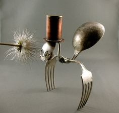 Sculpture made from vintage cutlery and other metal bits