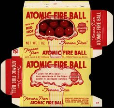 Atomic-Fireballs-box-1960s-1970s - HOT! We used to see who could put the most in their mouth for the longest without spitting them out.