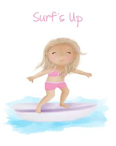 Surfs Up  Surf Board Wall Art  Child on Beach by SweetCheeksImages