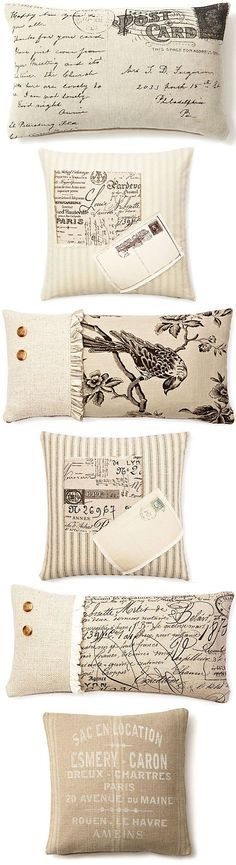 INSPIRATION :: More French Laundry Home pillow ideas using fabric & transfers.   #frenchlaundryhome #pillows #transfers: