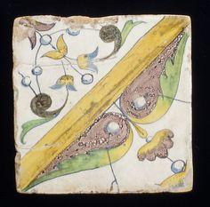 Panel of Tiles, workshop of Masséot Abaquesne, France; earthenware, tin enamelled, circa 1549-1551