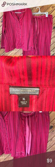 XL Red and pink striped silky pajamas. XL Red and pinks striped silky pajamas.  Good condition.  Pants have draw string. Intimates & Sleepwear Pajamas