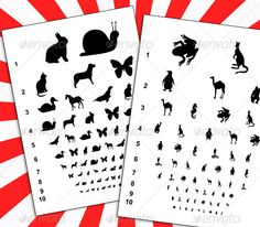Visual Eye Charts with Animals.Visual eye charts with vector animal silhouettes for kids. Distance visual acuity test for children. It is a tool for parents to examine their kids vision and to make eye excersises to improve it.