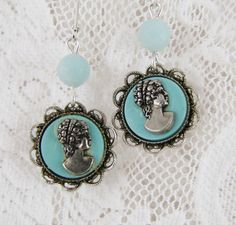 Tiffany Blue Cameo Earrings Vintage refashioned