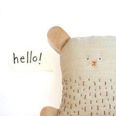 Handmade Toy Bear - Soft Toy Animal, Handmade Teddy Bear, Fabric Doll, Plush Toy, Soft Sculpture, Creature, Art Doll, Poosac Bear. £20.00, via Etsy.