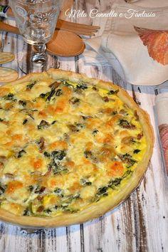 Quiche con cicoria, funghi e mozzarella