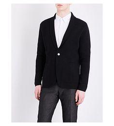 HARDY AMIES Shawl Collar Knitted Cardigan. #hardyamies #cloth #knitwear