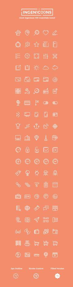 Set de 100 #iconos limpios y elegantes gratis