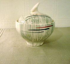 Retro Sugar Bowl with Lid > Stetson China . Hiawatha Pattern > Black, Gray and Burgundy Sugar Bowl, Burgundy, Jar, China, Retro, Unique Jewelry, Handmade Gifts, Pattern, Vintage