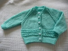 Aqua baby cardigan and hat set Baby Cardigan Knitting Pattern, Knitted Baby Cardigan, Knit Baby Sweaters, Baby Knitting Patterns, Baby Patterns, Baby Knits, Knitting For Kids, Free Knitting, Knitting Projects