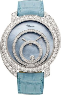 Chopard Diamond, White Gold, Leather Strap Happy Spirit Wristwatch, modern